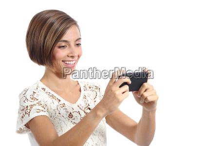 modern, fashion, woman, watching, video, in - 14051731