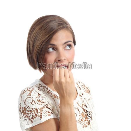 nervous, pensive, woman, biting, nails - 14051735