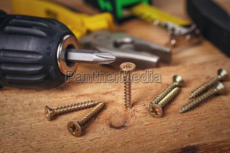 wood screws and carpentry tools