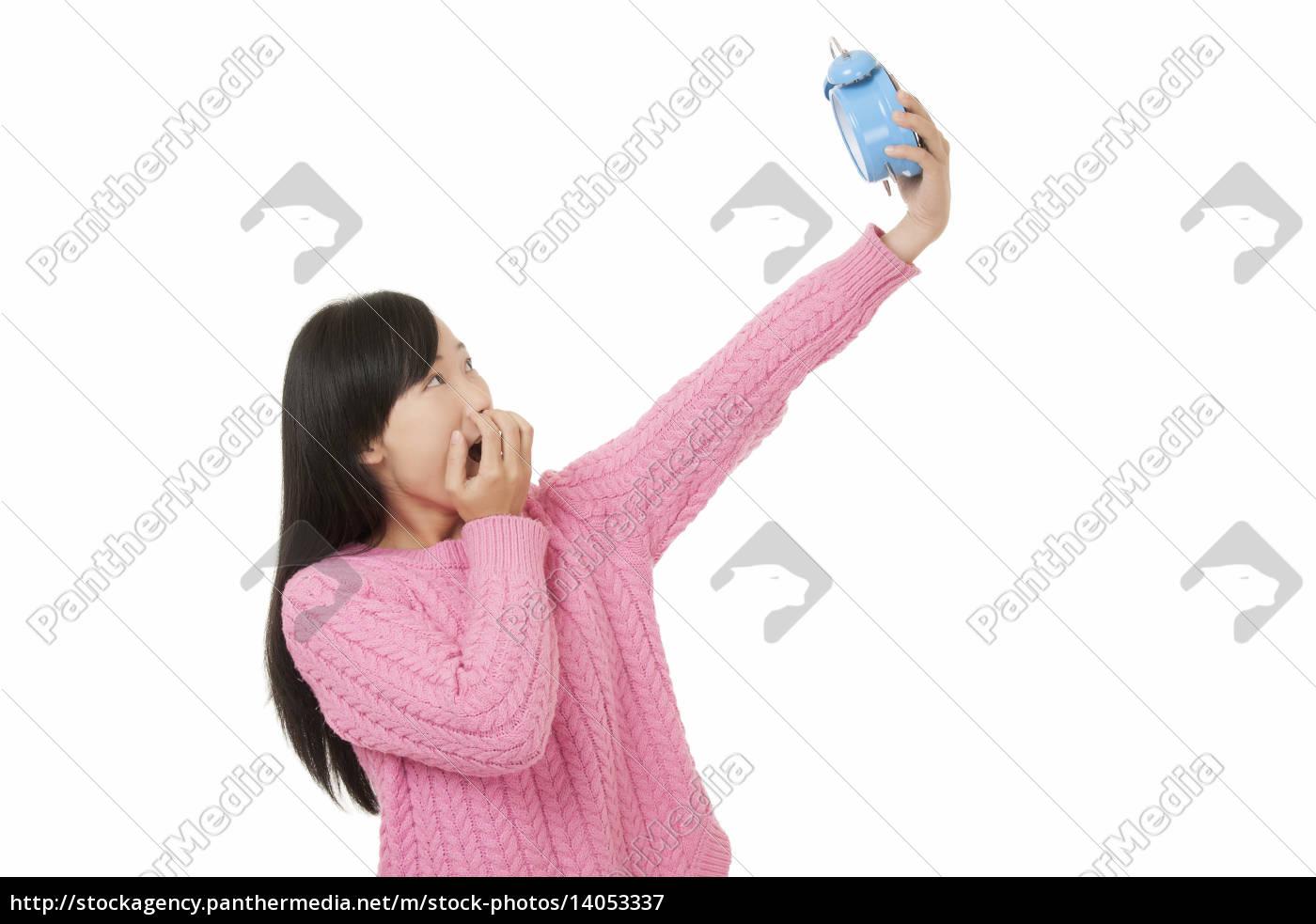 beautiful, chinese, woman, holding, a, blue - 14053337