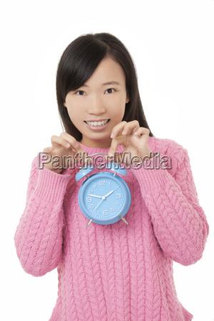 beautiful, chinese, woman, holding, a, blue - 14053345