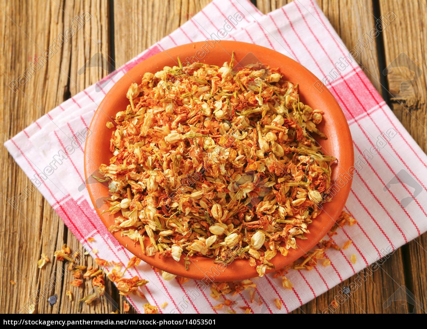 bowl, of, dried, jasmine, flowers - 14053501