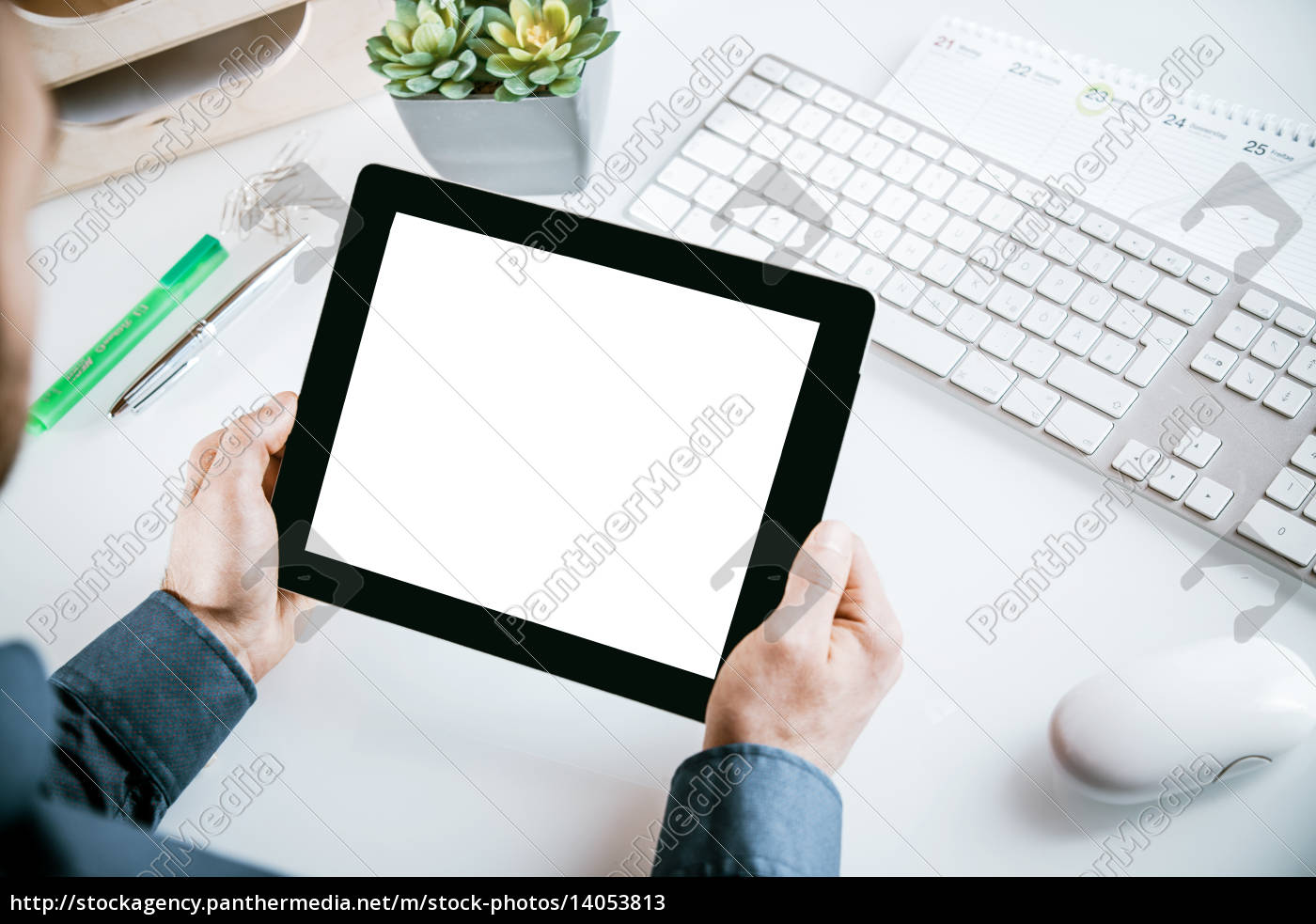 businessman, holding, a, blank, tablet, pc - 14053813