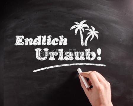conceptual, endlich, urlaub, texts, on, chalkboard - 14053867
