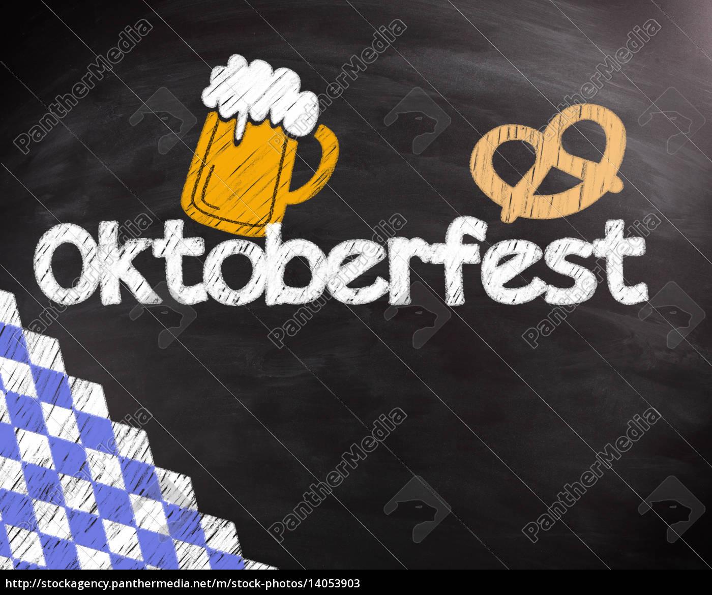 conceptual, octoberfest, text, on, black, chalkboard - 14053903