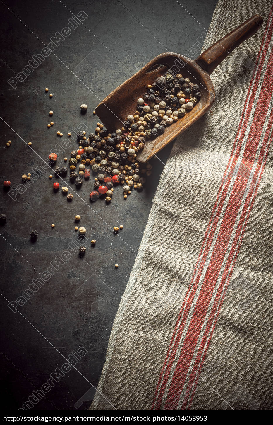 dried, mixed, peppercorns, spilling, from, a - 14053953