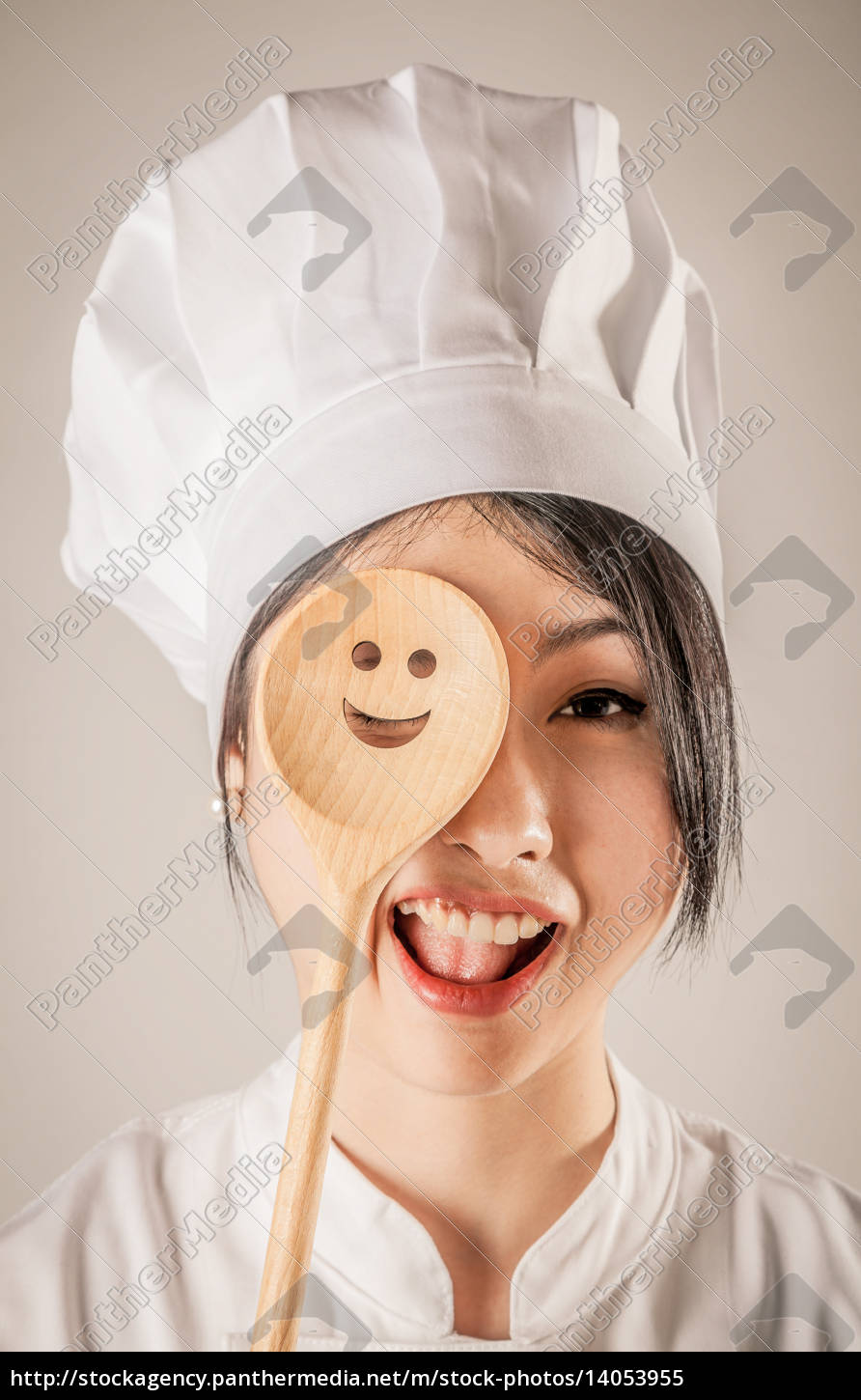 happy, chef, covering, one, eye, with - 14053955
