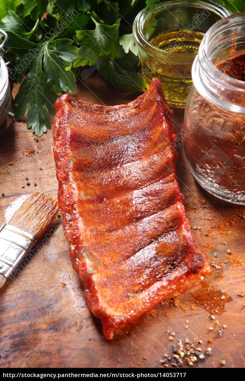 juicy, fried, pork, rib, meat, on - 14053717