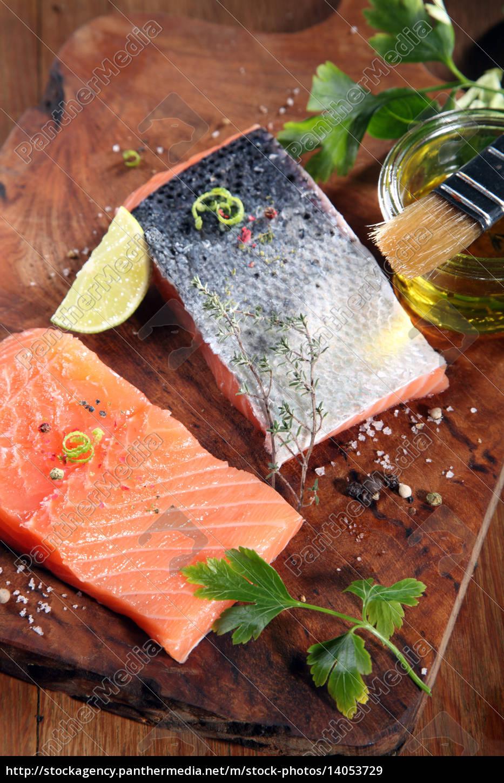 raw, salmon, fish, meat, on, cutting - 14053729
