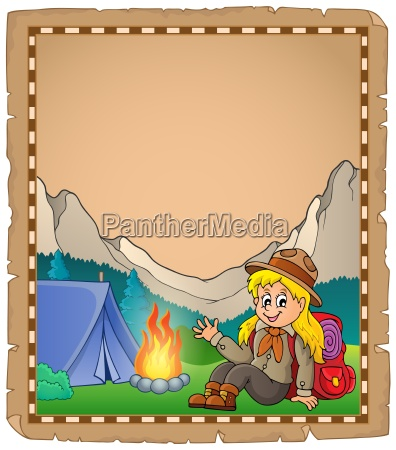 parchment with scout girl in mountain
