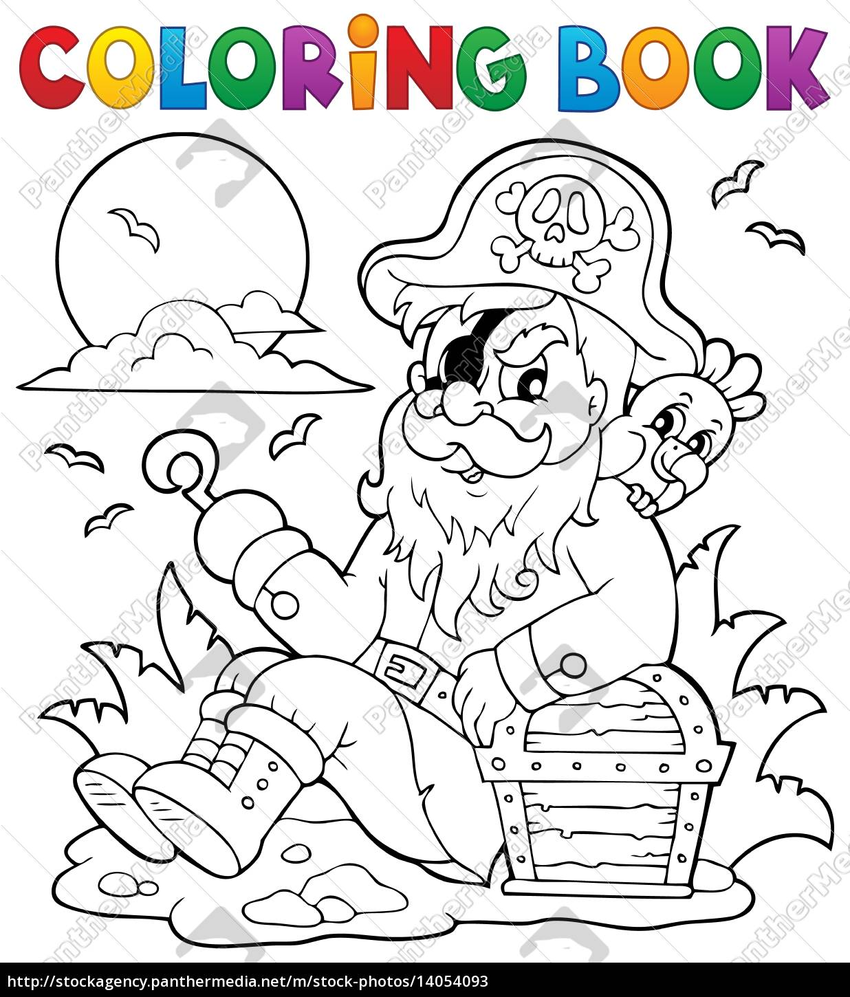 coloring, book, with, sitting, pirate - 14054093