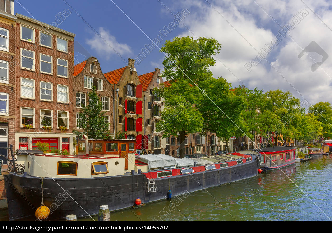 amsterdam, canal, with, houseboats, , holland - 14055707