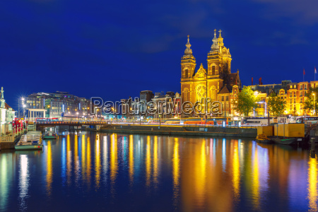 night, amsterdam, canal, and, basilica, saint - 14055729