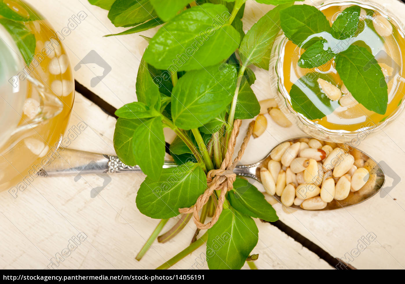arab, traditional, mint, and, pine, nuts - 14056191