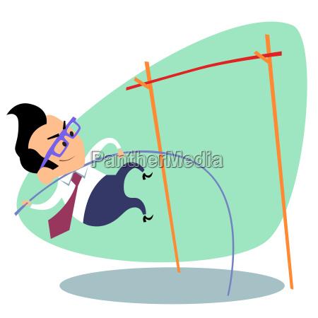 businessman pole vault height business theme