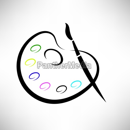 paintbrush and paints icon isolated