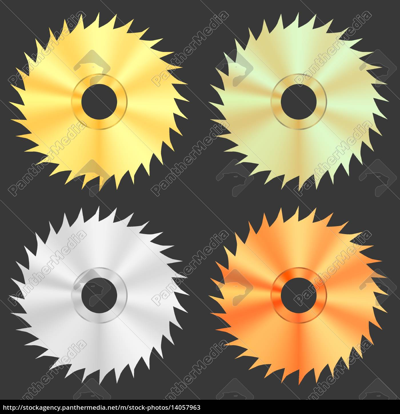 circular, saw, discs, isolated, on, dark - 14057963