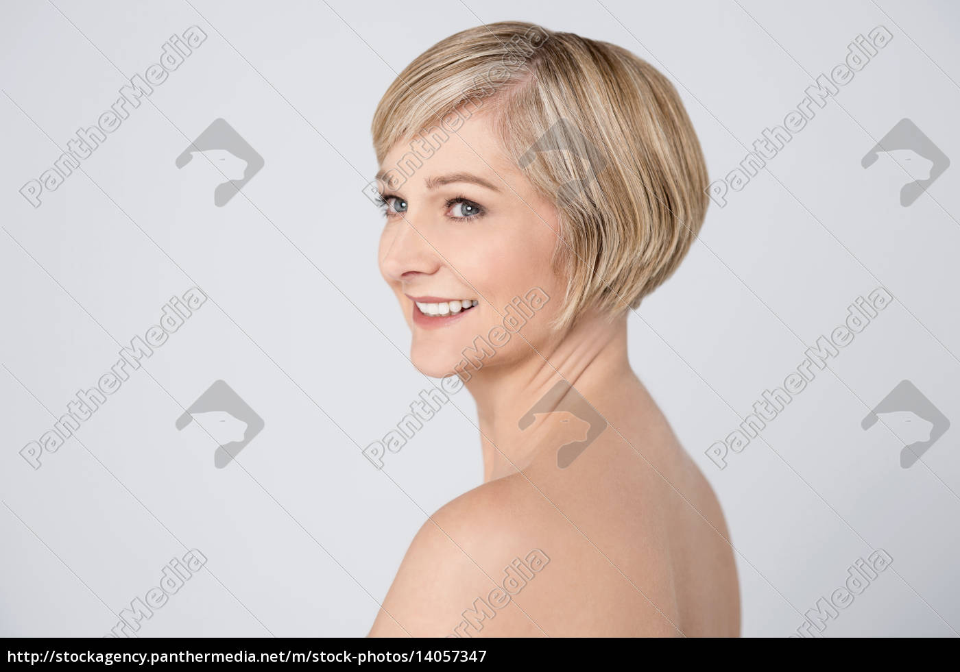 smiling, woman, with, clean, skin. - 14057347