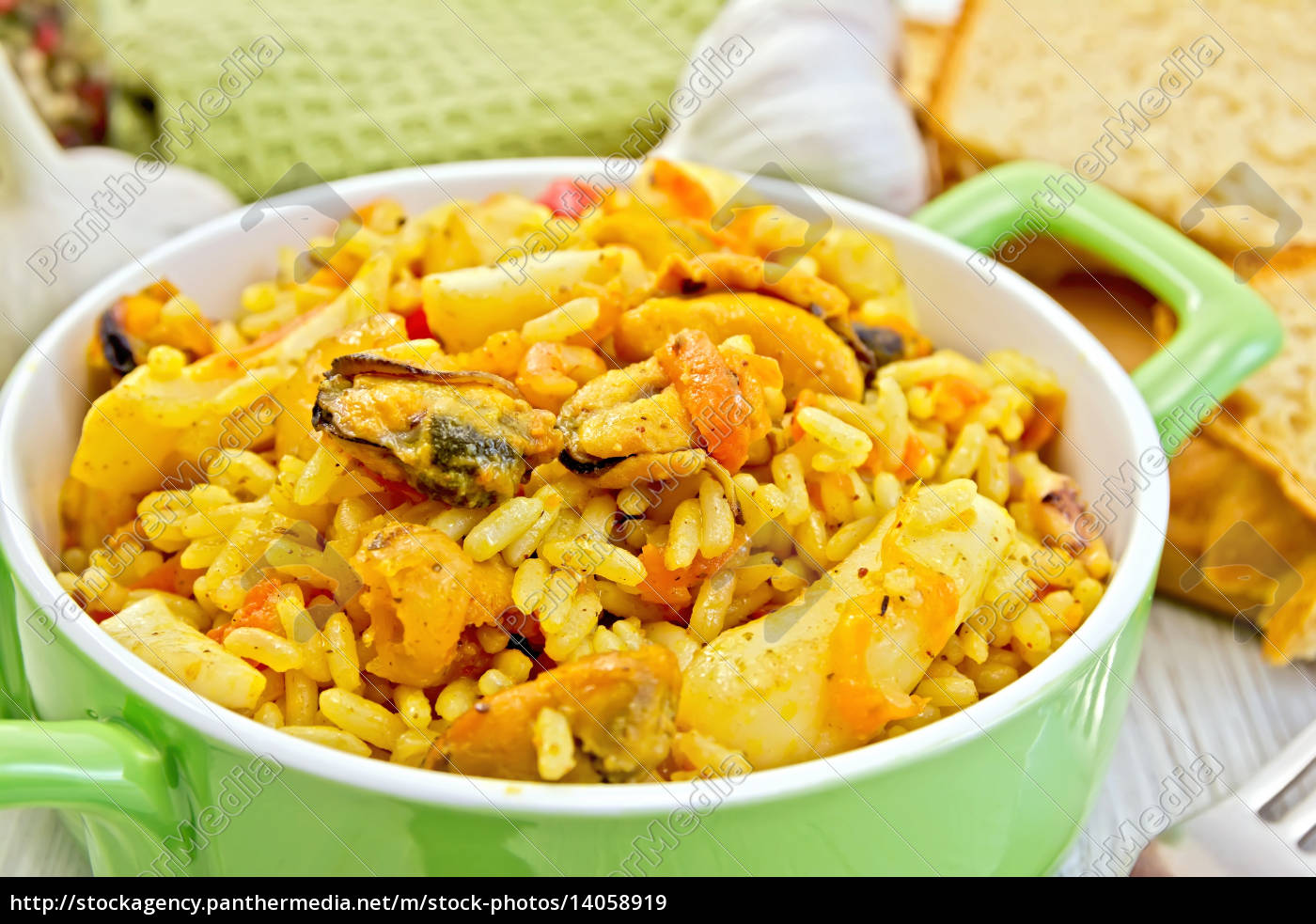 pilaf, with, seafood, and, bread, on - 14058919