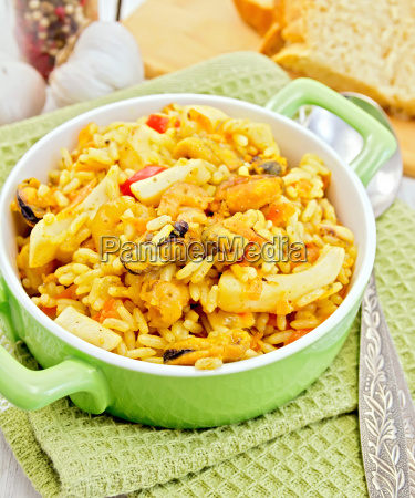 pilaf, with, seafood, and, bread, on - 14058921