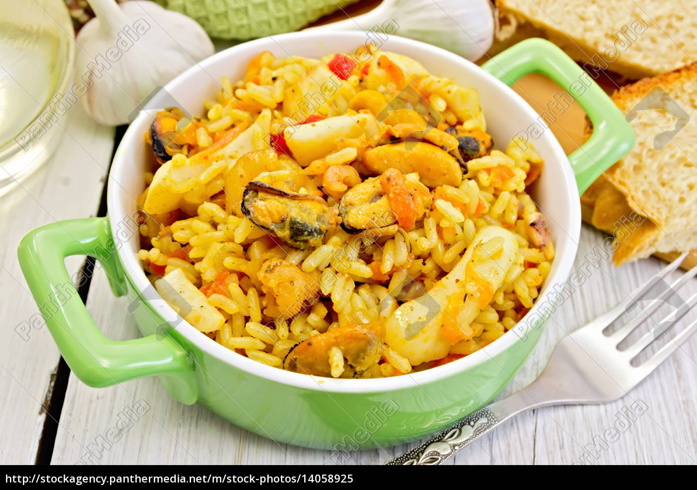 pilaf, with, seafood, and, fork, on - 14058925