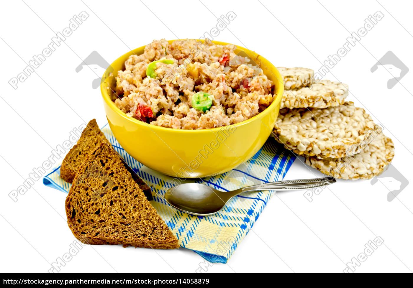 porridge, rye, flakes, with, bread, on - 14058879