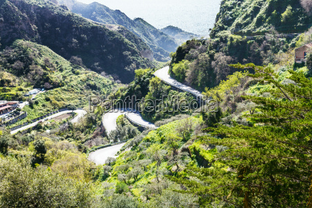 mountain road to savoca town in