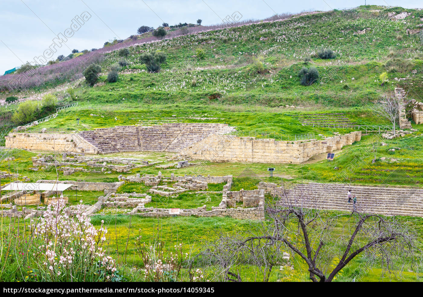 ancient, greek, theater, and, agora, in - 14059345