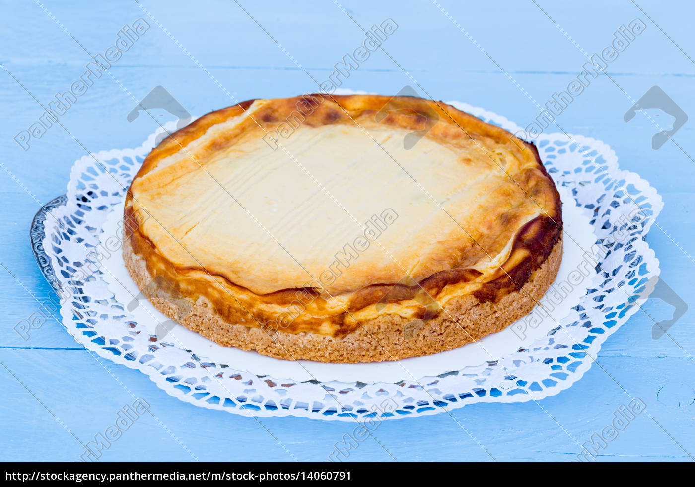 cheesecake, on, blue, wood, with, cake - 14060791