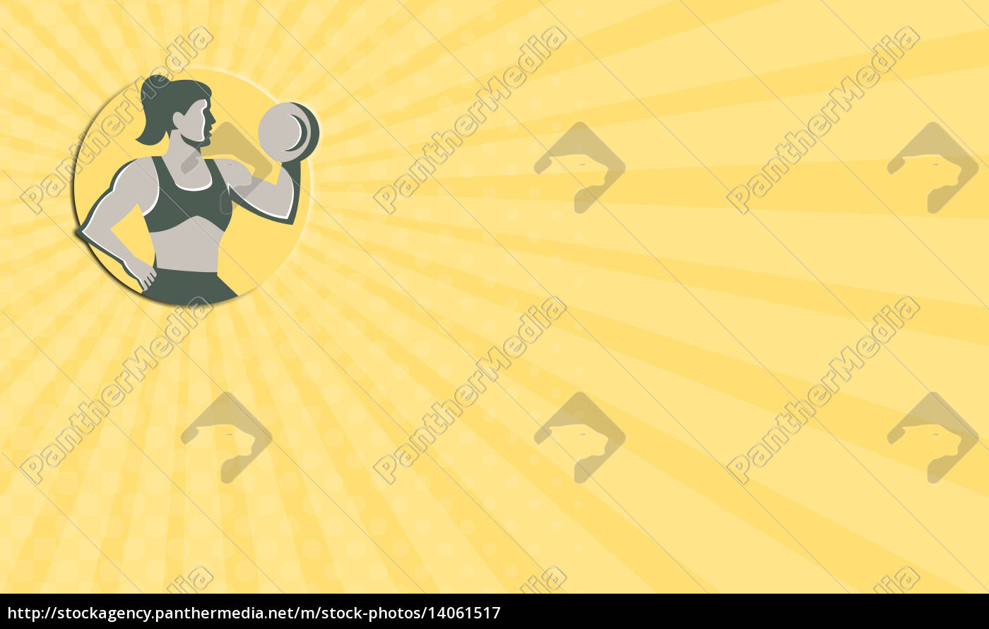 business, card, female, lifting, dumbbell, circle - 14061517