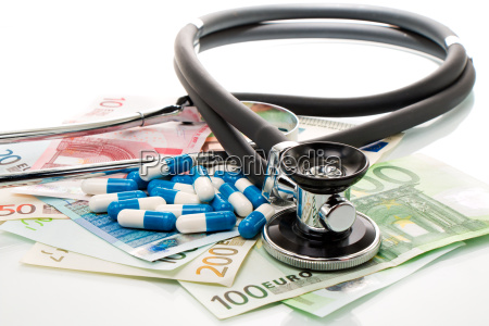 health costs stethoscope and euro bills