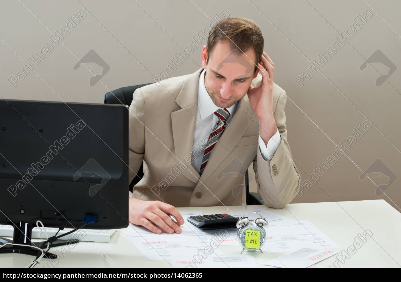 businessman, with, envelop, and, alarm, clock - 14062365