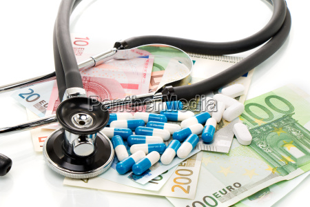 health, costs, stethoscope, and, euro, bills - 14062635