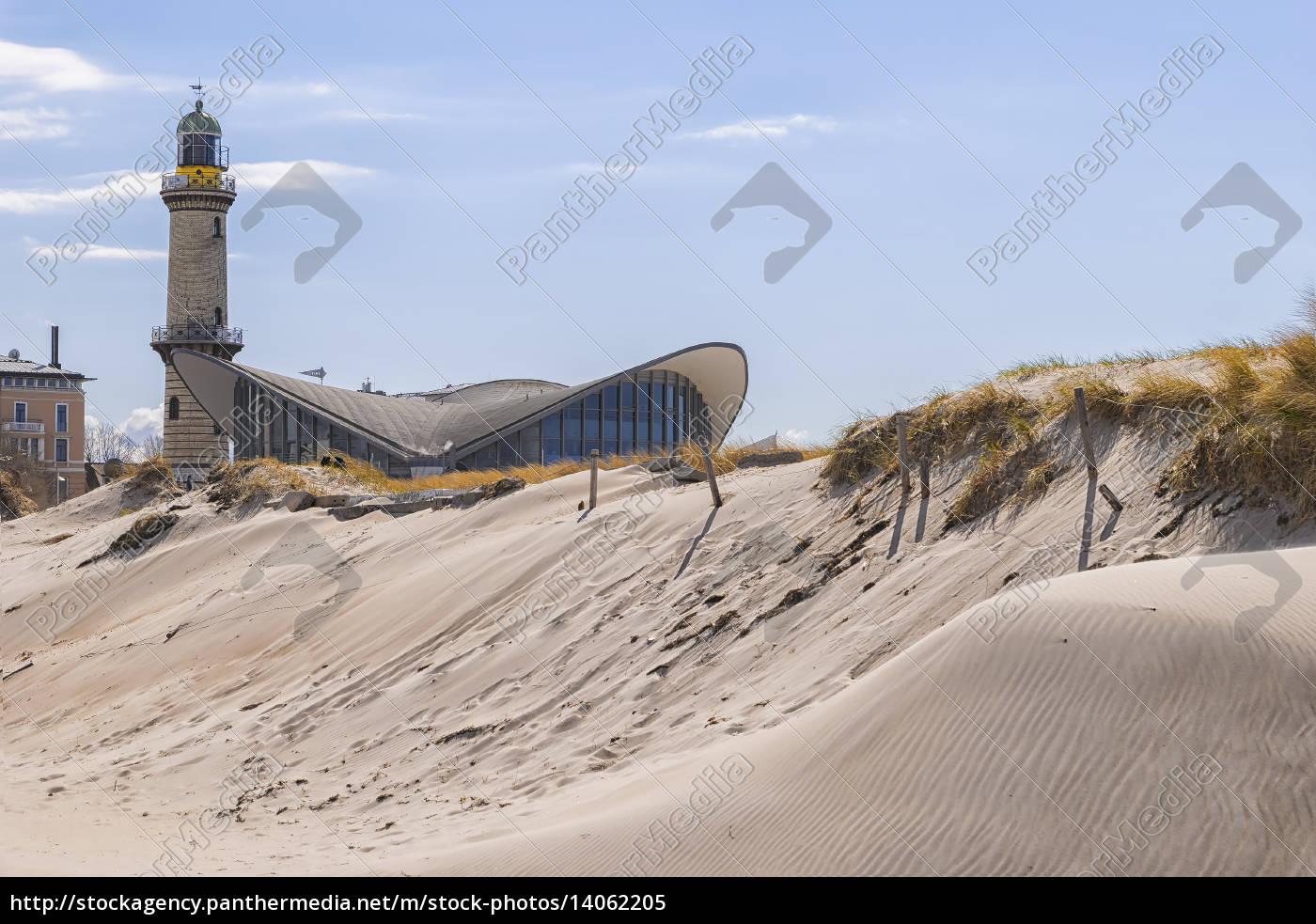 lighthouse, warnemunde, sand, dune - 14062205