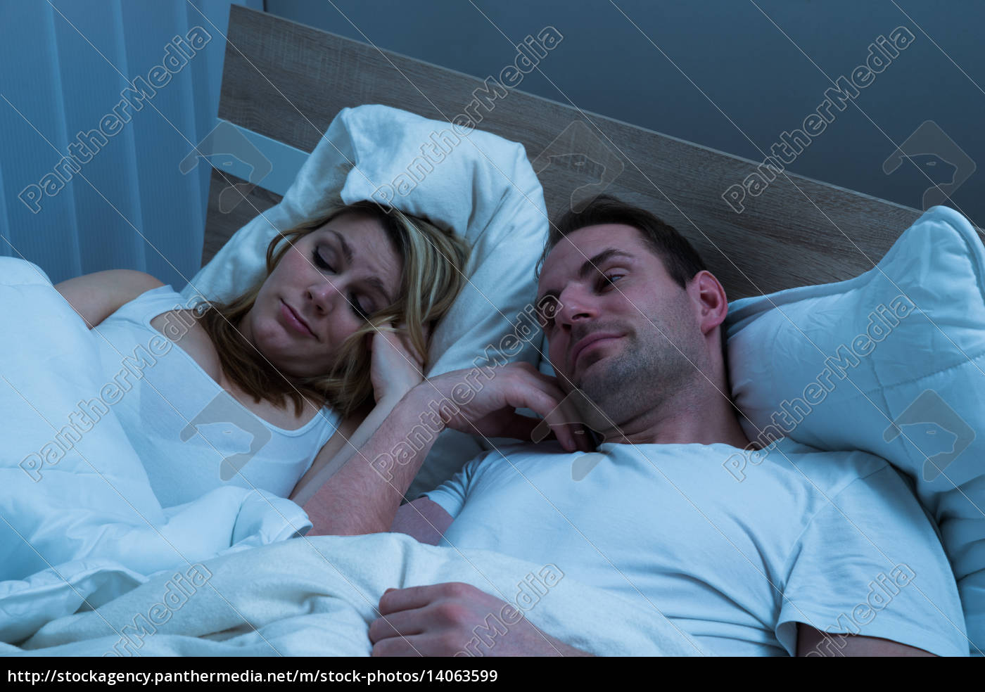 bored, couple, lying, in, bed - 14063599