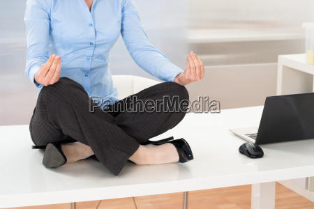 businesswoman, doing, yoga - 14063207