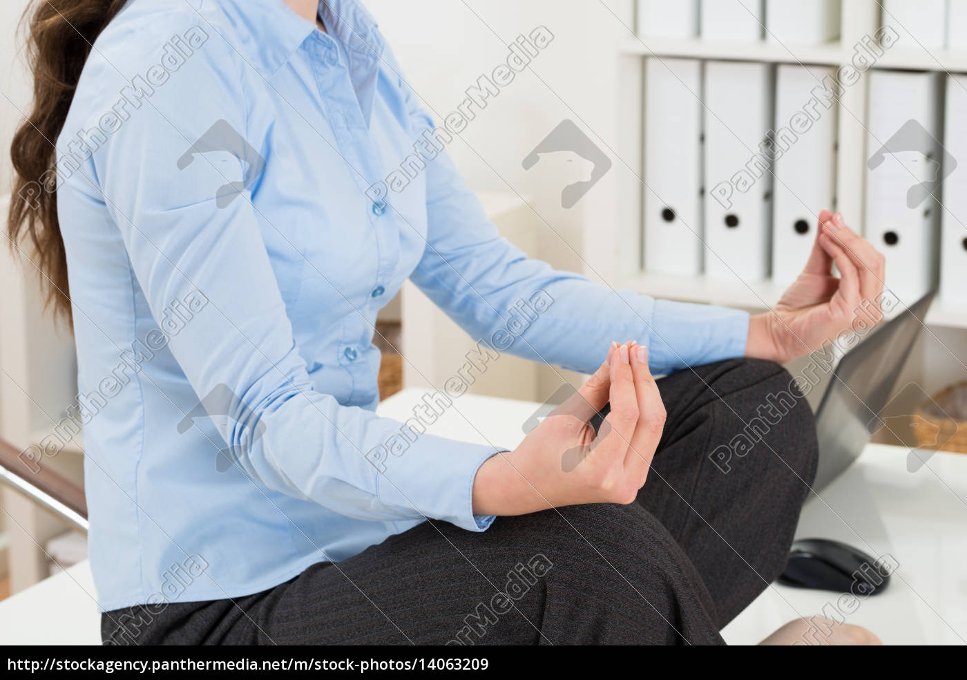 businesswoman, doing, yoga - 14063209