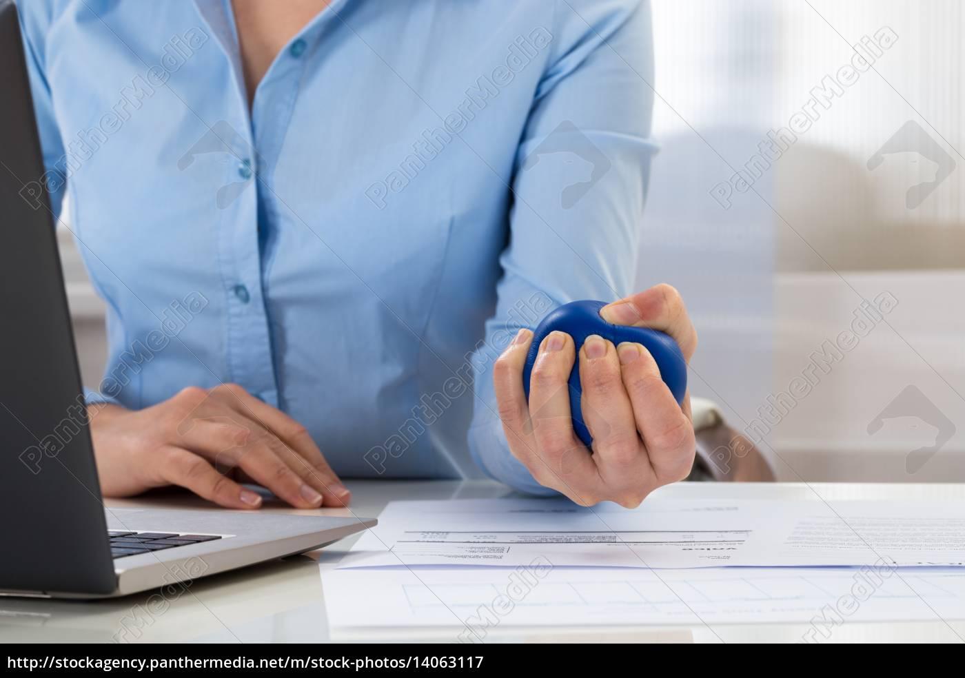 businesswoman, holding, stress, ball - 14063117
