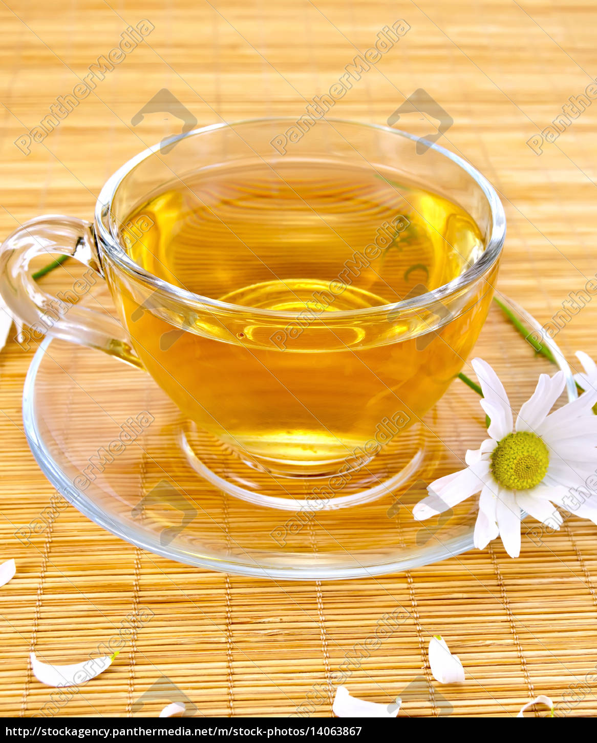 herbal, tea, with, camomiles, on, bamboo - 14063867