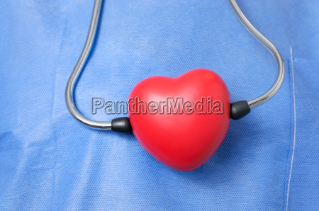stethoscope with red heart shape