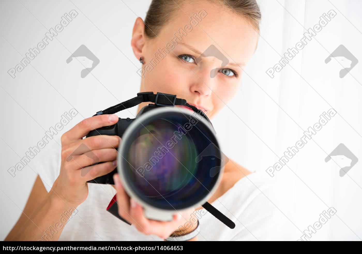pretty, , female, photographer, with, digital, camera - 14064653