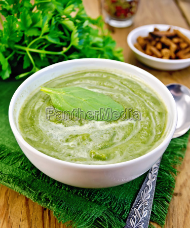 puree, green, with, spinach, and, spoon - 14064089