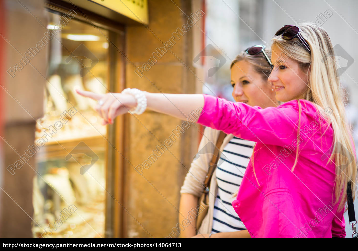 two, pretty, , young, women, window, shopping - 14064713