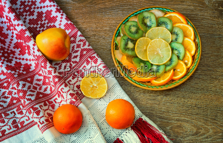 fruits, and, beautiful, old, towel, on - 14065829