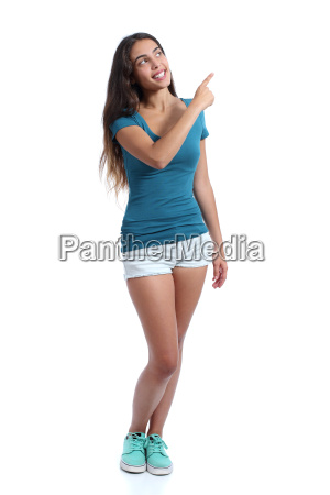 teenager promoter girl presenting pointing at