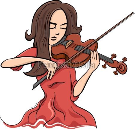 woman playing violin illustration
