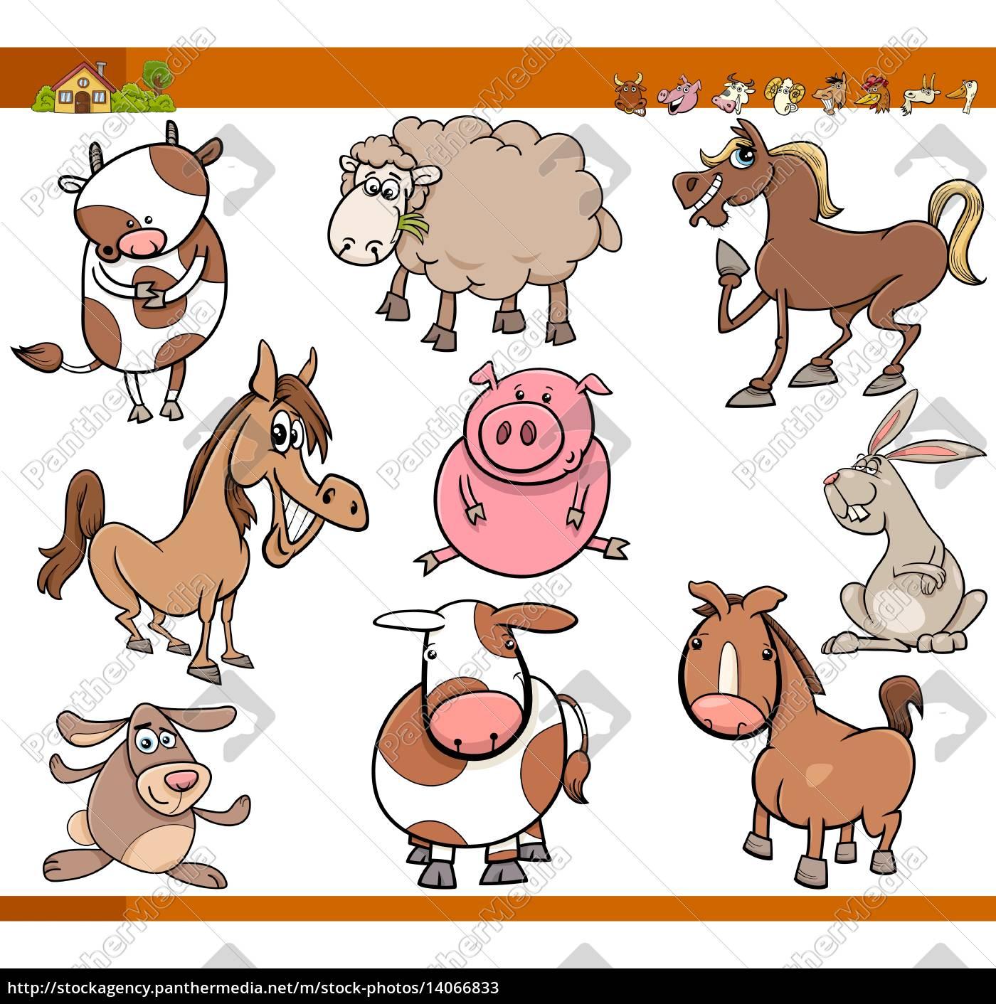 farm, animals, set, cartoon, illustration - 14066833
