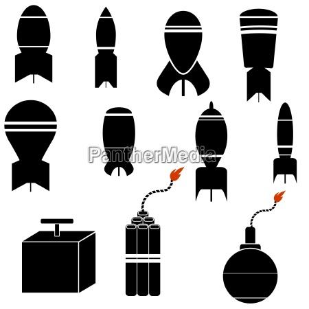 bomb, icon, set, isolated, on, white - 14067091