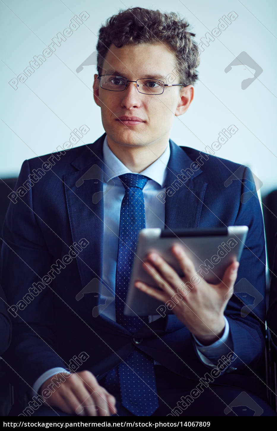 businessman, with, touchpad - 14067809