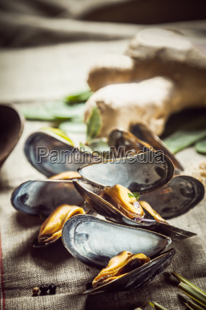 fresh, boiled, mussels, for, a, seafood - 14067993